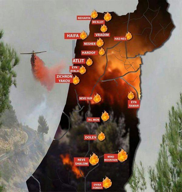 Lokasi Penyebaran Kebakaran Di Israel