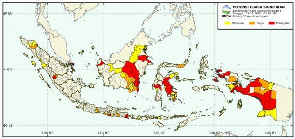 Cuaca Signifikan Berlaku Untuk Wilayah Indonesia